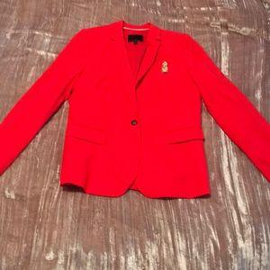 Fiery red NEVER WORN BR blazer w pineapple broach
